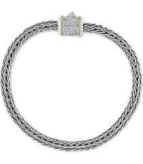 effy diamond barrel cluster woven link bracelet (1/6 ct. t.w.) in sterling silver & 18k gold
