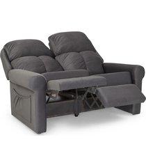 sofá loveseat reclinável 2 lugares herval fiji, linho grafite