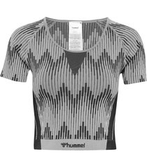 hmlwera seamless t-shirt s/s crop tops grå hummel