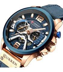 curren reloj azul dorado deportivo cronógrafo hombre fecha