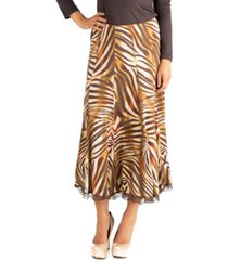24seven comfort apparel midi length brown animal print a-line skirt