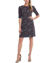 cece printed ruched-sleeve sheath dress