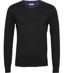 basic v neck stickad tröja v-krage svart tom tailor