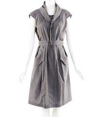 dries van noten gray cotton belted midi dress gray sz: s