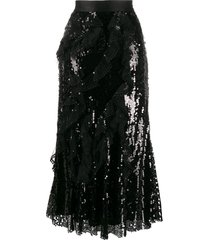 act n°1 sequined ruffled skirt - black