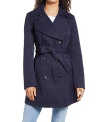 women's via spiga double breasted belted raincoat, size x-large - blue