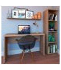 conjunto de mesa com estante e prateleira de escritório corp carvalho mel