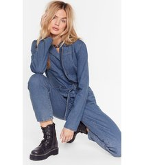 womens seams good to me belted denim boilersuit - mid blue