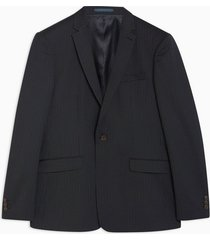 mens navy slim fit premium pinstripe single breasted suit blazer with notch lapels