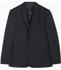 mens navy slim fit premium pinstripe single breasted blazer with notch lapels