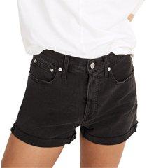 madewell high waist raw hem denim shorts, size 28 in lunar at nordstrom