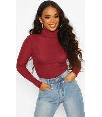 petite rib long sleeved turtle neck top, berry