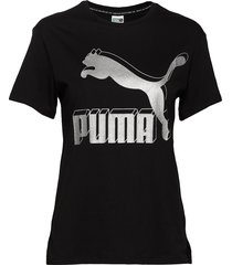 classics logo tee t-shirts & tops short-sleeved svart puma