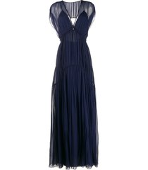 alberta ferretti pleated evening dress - blue