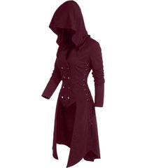 hooded lace-up button up high low steampunk coat
