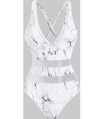 marble print fishnet insert criss cross plunging one-piece swimsuit