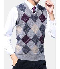 maglioncino casual da uomo senza maniche in lana scozzese con motivo scozzese, 100% lana