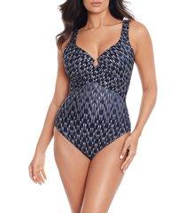 women's miraclesuit belle epoque crisscross escape one-piece swimsuit, size 8 - grey
