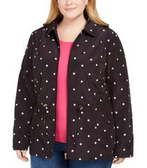 charter club plus size dot-print hooded anorak jacket, created for macy's