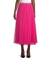 redvalentino women's mesh tulle skirt - magenta - size 44 (12)