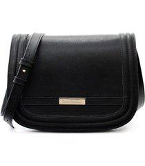 bolsa maria verônica tiracolo tampa couro estampado cor preto 5133