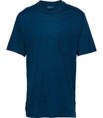 mens nature dye drayden ss pocket crewe t-shirts short-sleeved blå icebreaker