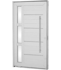 porta pivotante lambris horizontais com friso, vidro e puxador alumínio branco 243,5x146,2x12cm direita aluminium - 72440110 - sasazaki - sasazaki