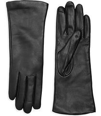 polished leather cashmere lined tech gloves