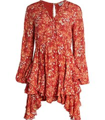 floral crinkle tier-ruffle mini handkerchief dress