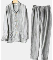 top pigiama in cotone caldo traspirante da uomo a maniche lunghe con collo alto e risvolto