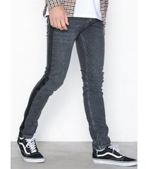 topman washed black side taping stretch skinny jeans jeans black
