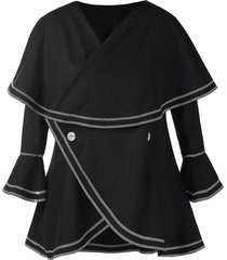plus size lace up flare sleeves buttons overlay coat