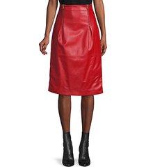 double zip leather skirt
