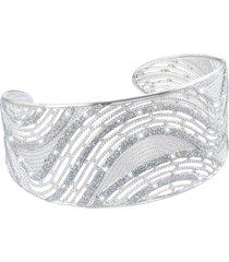 bracciale bangle medium in ottone rodiato e glitter per donna