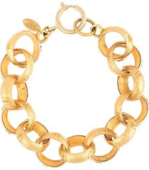 chanel pre-owned 2002 oversized chain bracelet - gold