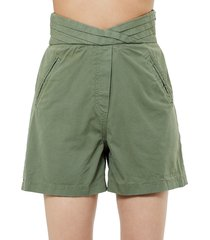 rta women's ellena pleated cotton shorts - military green - size 32 (10-12)