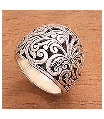 sterling silver domed ring, 'sunda forest' (indonesia)