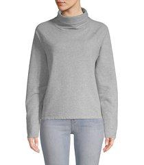 pure navy women's cotton-blend turtleneck sweatshirt - shadow - size xs