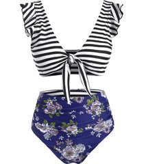 ruffle ruched tie front striped floral bikini swimsuit