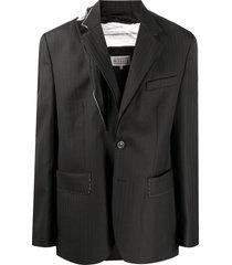 maison margiela pinstripe tulle detail blazer - black