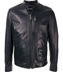 dolce & gabbana press stud collar biker jacket - black