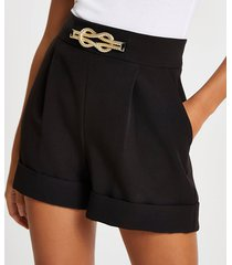 river island womens black knot detail shorts