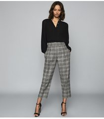 reiss arya - checked pleat front trousers in multi, womens, size 10