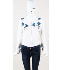 oscar de la renta white floral beaded wool cardigan white/floral print sz: l