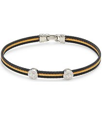 18k white gold, multi-cable two-tone stainless steel cable & diamond bracelet