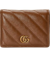 gucci gg marmont card case wallet - brown