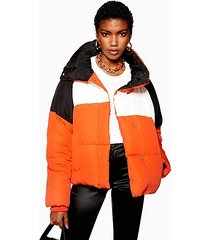 orange colour block puffer jacket - orange