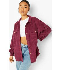 oversized blouse met corduroy zakken, berry