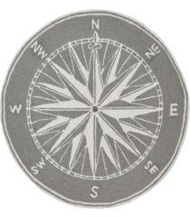 liora manne frontporch compass black and gray 8' x 8' round rug
