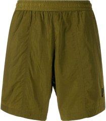 ami paris elastic waist long swim shorts - green